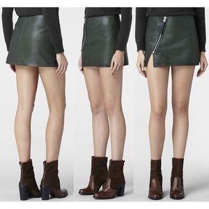 All Saints Mini Split Lucille Leather Skirt Green